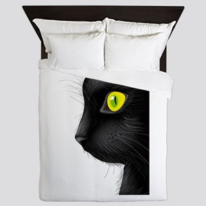 Black cat face with bright eye Queen Duvet